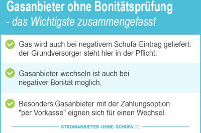 Gasanbieter ohne Bonitätsprüfung 2018: so gelingt der Wechsel!